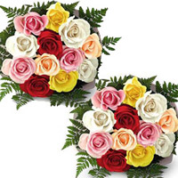 12 Mixed Roses bunches (2no) specially made to express your heart felt wishes to the couple on their most special day.