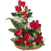 30Red Roses in around basket with geenary and fillers Flowers have the innate ability to brighten up the day of your lady love
