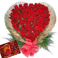 Send this wonderfull arrangement of 100 Red Roses in a Heart Shaped arrangement to your loved ones in India and heighten their celebration