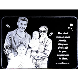 Photo Engraved on Acrylic transparent glass with stand and LED lighting at bottom.  <br> Size WA 2: (8 X 12) inch<br> send photo to 143gifts@gmail.com <br> Delivery lead time 2 working days