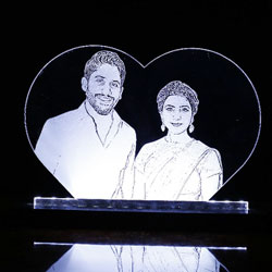 Photo Engraved on Acrylic transparent glass with stand and LED lighting at bottom. 