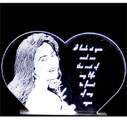 Photo Engraved on Acrylic transparent glass with stand and LED lighting at bottom. <br>