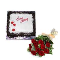 1kg black forest cake + 12 red roses bunch