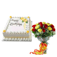 1/2kg pineapple cake + 12 red & yellow roses bunch