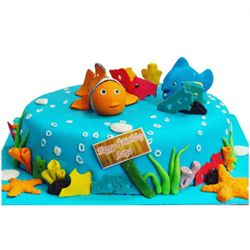 Nemo vanilla fondant cake Let your charming angle�s heart fill with utmost happiness and joy by ordering this Nemo cake on her birthday.