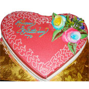1kg Heart Shape - Strawberry flavour cake - Butter Cream - Non Pastry