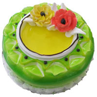Pista Flavour Cake decorated Pista flavour jell  Weight : 1kg, cake : Pastry