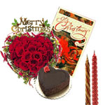 Christmas Wishes :this hamper contains: 50 Red Rose heart shape basket, 1 Kg Heart Shape Chocolate Cake with 2 Long Candles & One Christmas Greeting Card.