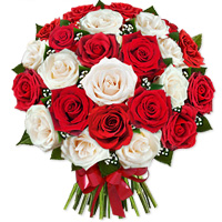 Gorgeous bouquet of two dozen sparkling red and white roses, make an extravagant statement of fashion., Flowers to Bangalore