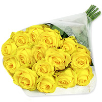 Collection of 36 vibrant yellow roses surrounded by lemonium, wrapped in fancy cellophane paper and tied together with a pretty yellow ribbon, Flowers to Chennai