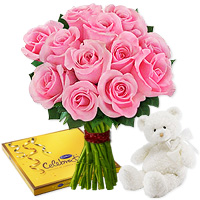 Collection of 15 gorgeous pink roses, accompanied with a Small cuddly white teddy and a fancy box of Cadbury Celebrations., Flowers to Bangalore