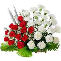 Graceful display of 10 red roses and 10 white carnations that will add charm  to your home., Flowers to Bangalore