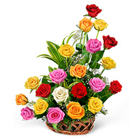 A Stunning array of mixed colour roses arrange in bamboo basket., Flowers to Bangalore