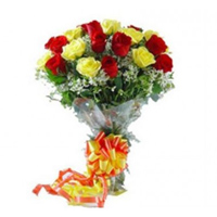Bouquet of 12 Red&yellow  roses, Ideal for Birthday, Anniversary, Congratulations kind of wishes. , Flowers to Bangalore