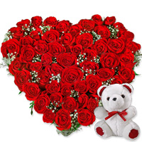50 Gorgeous red roses accompanied by a cuddly teddy bear, which will add a tender touch., Flowers to Bangalore