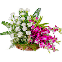 An Unique combination of orchids and white carnations arranged in a basket., Flowers to Bangalore
