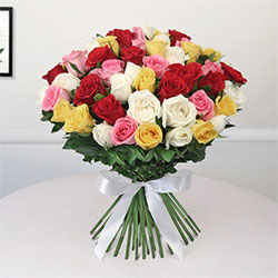 This beautiful bunch of flowers, consisting of lovely assorted roses, has been made as a perfect flower gift., Flowers to Bangalore