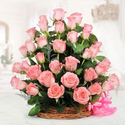 This stunning basket consists of 50 Pink Roses Special Wedding flowers, Flowers to Bangalore