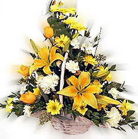 One sided arrangement of Yellow Lilies,Daises & Roses with White Carnations for those magical moments of life., Flowers to Bangalore