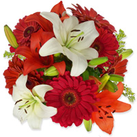 Bouquet of lillies and gerberas is worth its weight in gold., Flowers to Bangalore