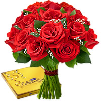 Collection of 12 red roses accompanied with a fancy box of Cadbury Celebrations, Flowers to Bangalore