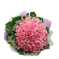 This bunch consists of 100 stems of Pink Roses. This is best given as a token of your Love Start., Flowers to Bangalore