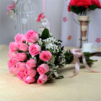 Bunch of 10 Pink Roses with Matching Ribbon Bow Tied