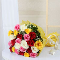 Bunch of 24 Mix Roses in Tissue Paper Wrapping Tied With Matching Bow