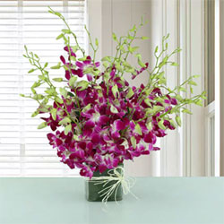 An exquisite arrangement of 20 purple orchids in a round bouquet , Flowers to Chennai