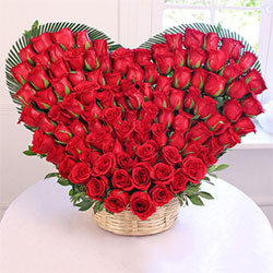 This Heart Shaped Basket of 100 Red Roses takes care of the expression of your sentiments to your loved ones, Flowers to Bangalore
