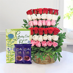 Mix Arrangement of 35 Roses with two bars of Cadbury Bars silk each one 60gms & Greeting Card
