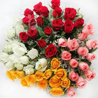 beautiful 50 mix roses bouquet to your beloved. Roses colour may vary as per availability., Flowers to Bangalore