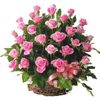 40 pink colored long stemmed roses, Pink Beauty, is the ideal gift for someone who is very special to you in India. Arranged in a basket, the greens add to the beauty of this floer arrangement., Flowers to Bangalore