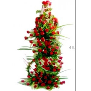Life Size Basket -Just go for this grand arrangement (around 4 feet) of lovely 100 red Roses in special way.