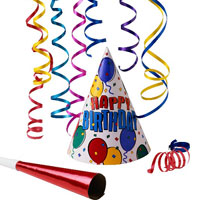 Birthday Popper + 2 packets of Balloons + Party Snower + 2 Birthday caps + small Teddy bear + Musical Knife + Musical Candle + Birthday banner