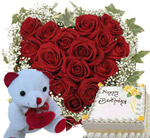 hamper contains : 30 red roses heart shape basket, small teddy and 1/2kg pineapple /vanilla flavour cake