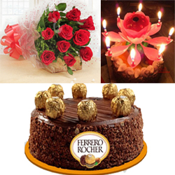 1 kg  Ferrero Rocher chocolate cake also makes for an excellent gift + 12 Red roses bunch + Musical Lotus Candle