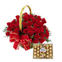 Comprising of A Basket of 50 Red Roses and a Pack of 24 Ferrero Rocher Chocolate