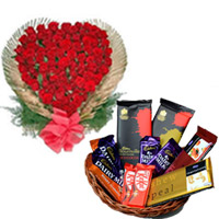 100 Red Roses in a Heart Shaped arrangement to your loved ones in India<br> 2 Pieces Cadbury Temptation Bar (72 gm each) +<br> 2 Cadbury Dairy Milk Chocolate (18 gm each) +<br> 2 Pieces Cadbury Roasted Almond (42 gm each) +<br> 2 Pieces Kit Kat (18 gm Each) +<br>2 Bournville (33 gm) +<br> 2 Pieces Cadbury Temptation Bar (72 gm each) + Round Basket