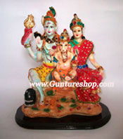 This hand crafted piece of Shiva Pariwar is made of Polyresin and is tastefully decorated with attractive colors and stones. Shiv Pariwar Idol is attributed as the one who is fragnant and who nourishes well all beings. He literates us from death for the sake of immortality even as the cucumber is severed from its bondage