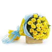 Here is a gift which will melt anyone`s heart. Bunch of 36 yellow roses in a two layer paper packing