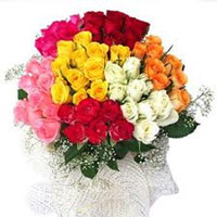 beautiful 50 mix roses bouquet to your beloved in Guntur. Roses colour may vary as per availability.