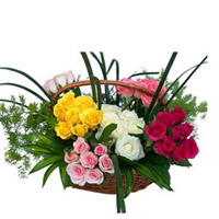 100 Red+yellow+white+pink Roses Basket Roses surrounded by Gypsophila in a Basket. Send this enchanting flower basket to India