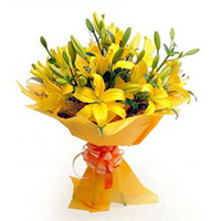 This is a splendid Bunch of 6 Yellow Asiatic Lilies, wrapped in a yellow paper wrapping and tied
