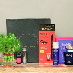 One Revlon Kajal Maybelline  Pink Nail Paint  Lakme Lipstick  2 Layer Lucky, Bambo  Blue Lady Perfume