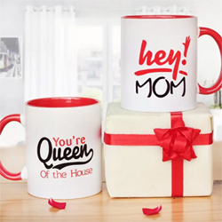 One printed red ceramic mug Size: Height 4'' & Width 3'' (350ml)