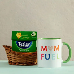 For your loving mother who's fond of a healthy cuppa of green tea is a pack of Tetley green tea along with a ceramic coffee mug as a gift to her