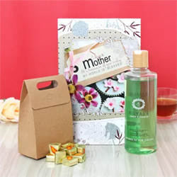 The most perfect hamper to win your mom's heart has a I.D Zara Royale Lemon and Orange shower gel with the most refreshing fragrance and a Kreitens Almonds yummy toffees in a smart goodies bag. Along with this is a greeting card