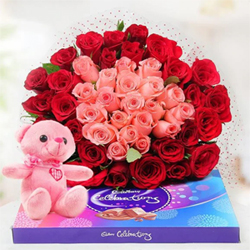 Bouquet of 30 Red & 20 Pink Roses A 6 Inch pink Teddy Pack of Cadbury Celebration