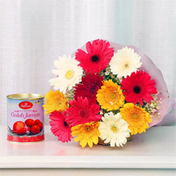 It's funny how their names match so well and blend into a beautiful combination 12 Mixed Gerberas One Kg Gulab Jamun